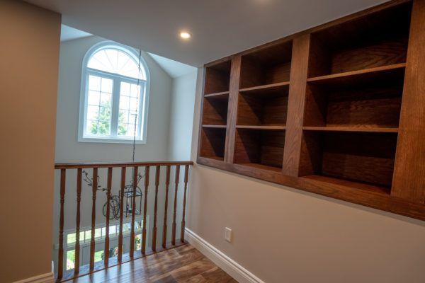custom library shelves attic reno
