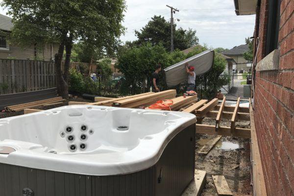 decking hot tub installation