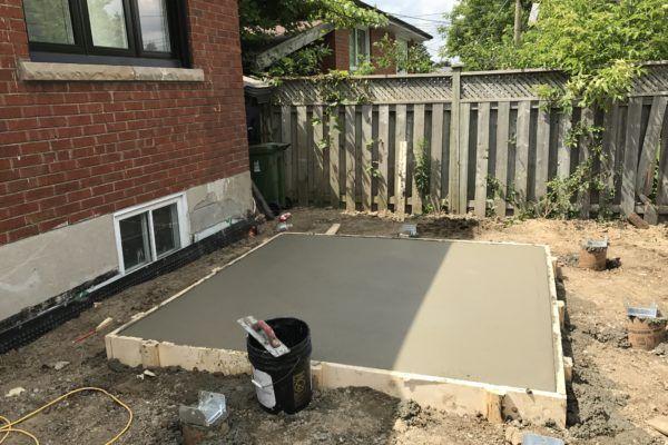 hot tub concrete slab after pour