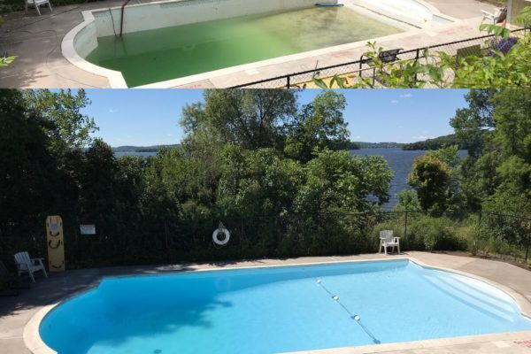 Concrete pool refinishing: before and after